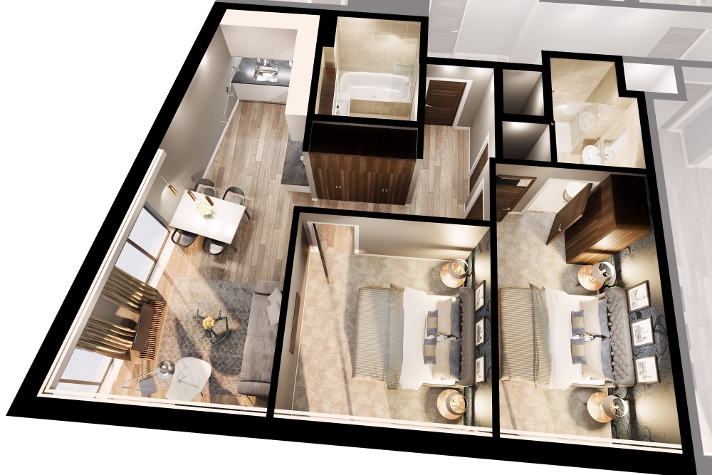 The Tannery Liverpool 2 bed apartment layout - CassiniCassini